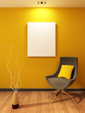 art gallery interior: Modern armchair and blank on the wall in orange interior. Wooden Parquet