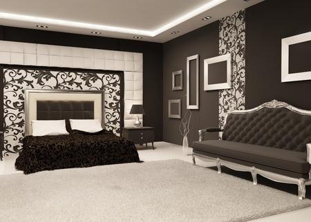 bedside: Cama moderna con mesa de noche y un sof� lujoso, Marcos vac�os en la pared en el interior. Perspectiva del Showroom Foto de archivo