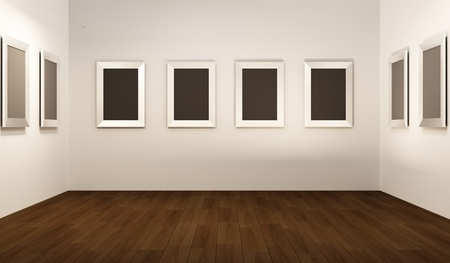 Front perspective of gallery interior. Empty frames on thw white wall in showroom. Stock Photo - 10542534
