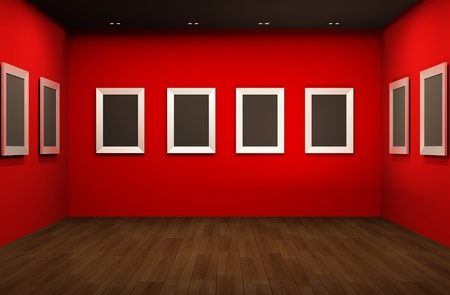 exhibition: Front perspective of gallery room. Empty blank frames in Showroom interior