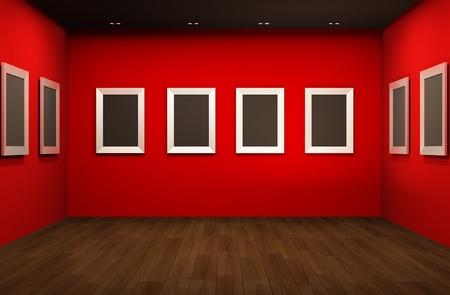 Voor perspectief van de galerie ruimte. Lege lege frames in Showroom interieur Stockfoto