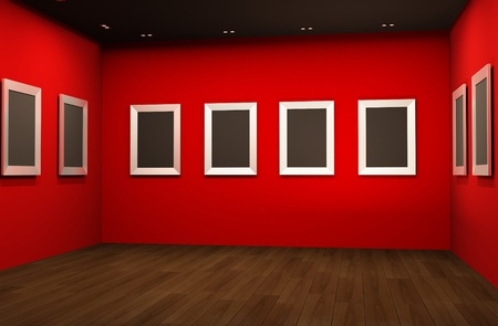 Perspective of gallery interior with empty frames on red walls Stock Photo - 10542548