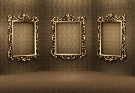 Empty golden frames on the wall in luxurious interior. Royal apartment. Showroom photo