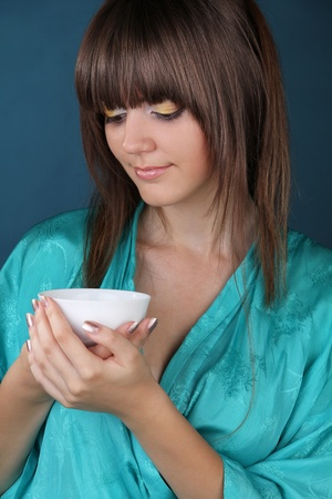 Tea drinking with beautiful woman photo