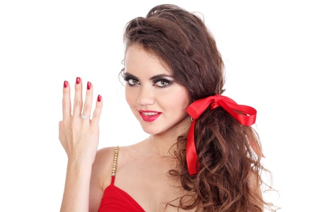 Beautiful girl  show four fingers on the hand Stock Photo - 10635295