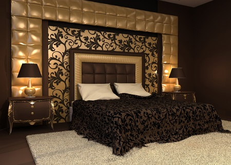 Romantic interior. Double bed in golden luxurious interior. Hotel apartment Stock Photo