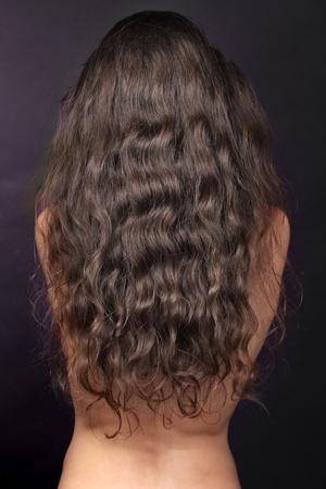 Mujer con largos cabellos rizados, la espalda, morena Foto de archivo - 10731580