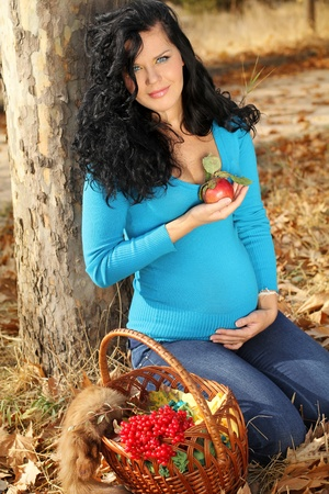 guelder: Beautiful pregnant woman with red apple, autumn outdoors Stock Photo