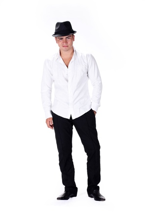 stylish young man standing over white photo