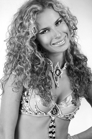 Portrait beautiful woman with curly hairstyle Stock Photo