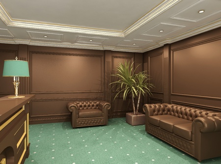 Perspective of reception hall with comfortable seats  photo
