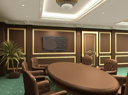 styled interior: Conference table in royal office interior space. Old styled apartment