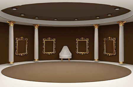 round chairs: Golden empty frames in museum interior space Stock Photo