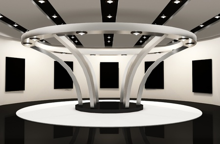 Gallery space with empty frames. Round Construction architecture in modern interior photo