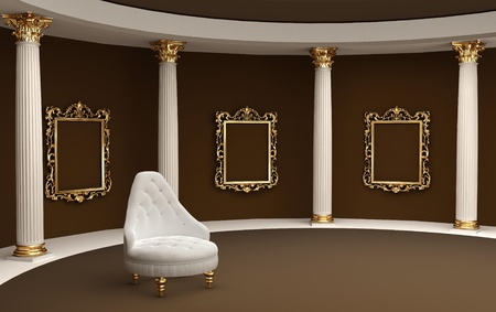 art gallery: Baroque frames on wall gallery museum and armchair