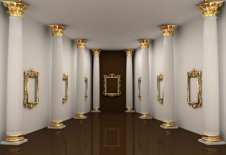 luxuriously: Perspective of gallery walls with Corinthian order column