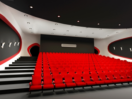 illuminated wall: Perspective of Empty hall of cinema with comfortable red chairs Stock Photo