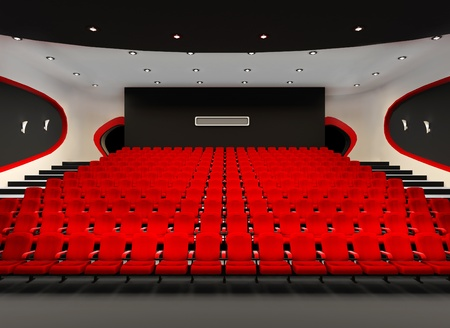 Perspective of Cinema red seats in cinema audience hall photo
