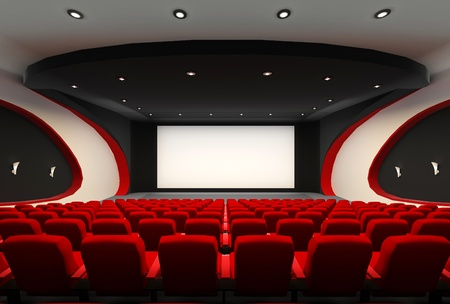 Front perspective construction of Empty hall of cinema with comfortable red chairs photo