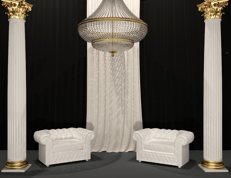 Classic luxury armchairs in royal interior with column  photo