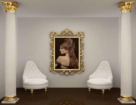 gold frames with picture of woman on the wall in royal interior space