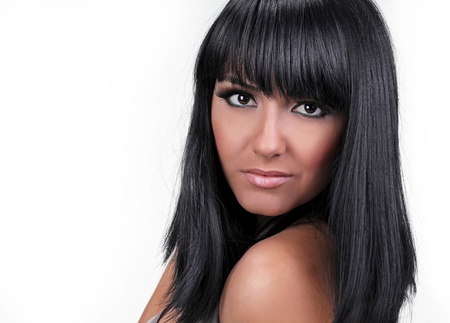 black hair style of young woman, portrait photo