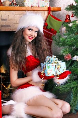 Christmas, woman interior photo