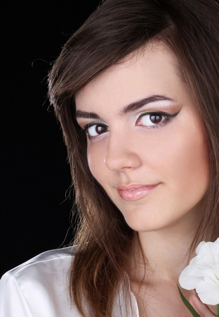 Young woman portrait. Make up skin care photo