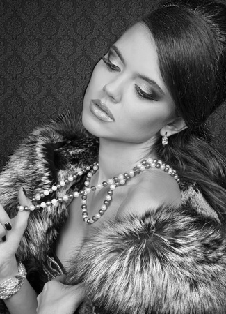 Romantic Beauty Girl in black and white. Retro Style photo