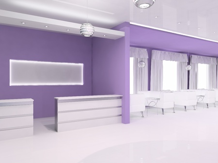 Reception hall interior with blank space background, violet photo