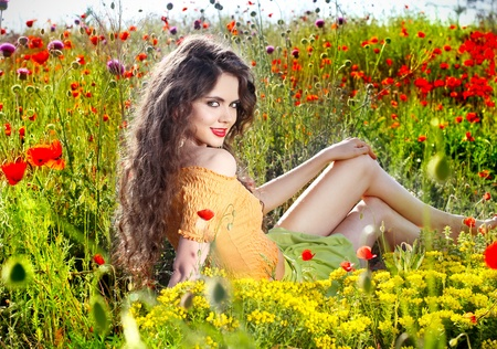 spring fashion: Young beauty natural woman outdoors portrait  Soft sunny colors