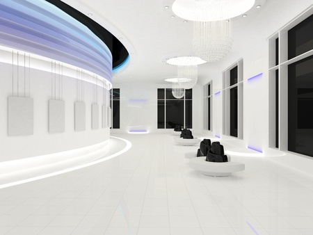 emitting: Modern interior space with empty frames on white wall