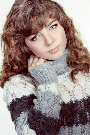 teen girl face: Portrait teenage girl wearing winter clothes