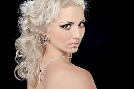 Blonde hair bride with evening make-up,Jewelry and Beauty  Fashion  photo