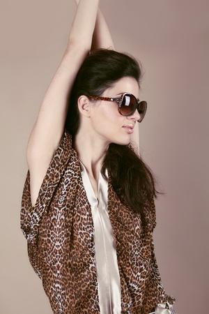 Fashion model woman in sun glasses, Vogue girl photo
