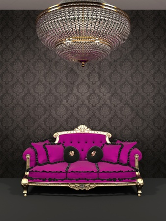 Red sofa and chandelier in royal interior Stock Photo - 13122411