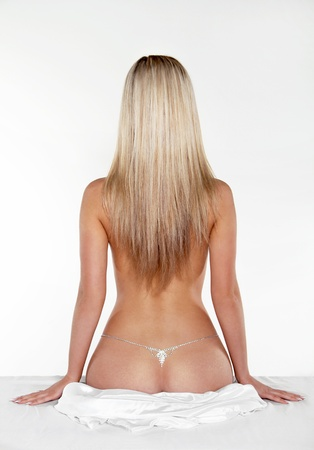 Sexy back of  blond woman female with Straight Long Hair