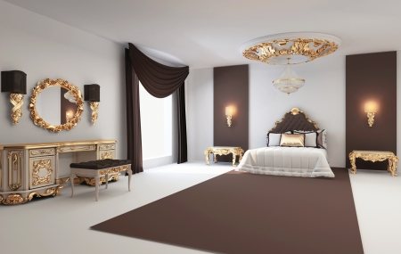 Baroque bedroom with golden furniture in royal interior Residence  photo