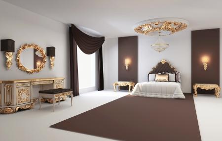 barroco: Dormitorio con muebles de estilo barroco de oro en la residencia real de interiores Foto de archivo