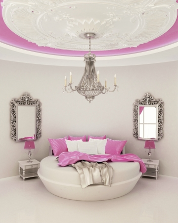 ceiling decor in modern bedroom  photo
