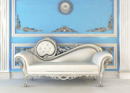 Luxurious sofa in blue royal interior Zdjęcie Seryjne