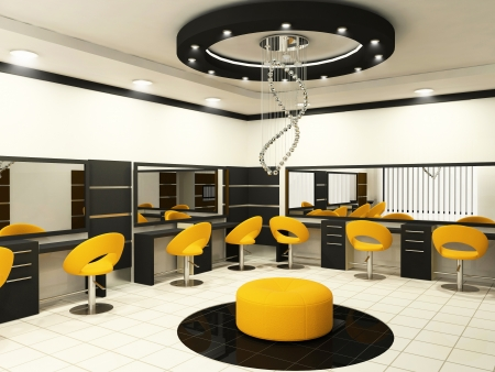 Luxurious interior of a beauty salon with creative ceiling photo