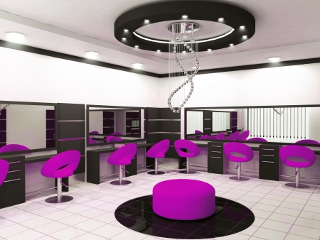 Luxurious interior of a beauty salon with creative ceiling Stock Photo