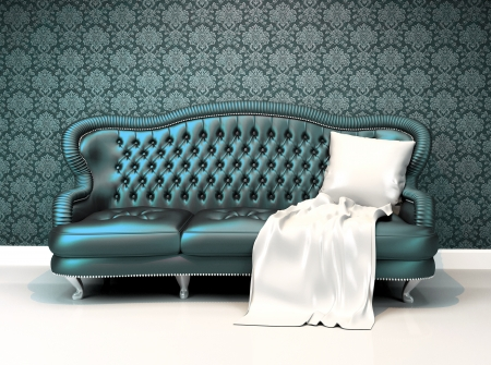 Modern leather sofa with covering  in interior room apartment with ornament wallpaper
