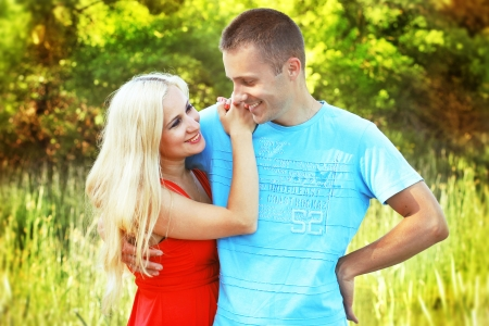 Closeup portrait of happy couple enjoying vacations on outdoors Stock Photo - 13703048