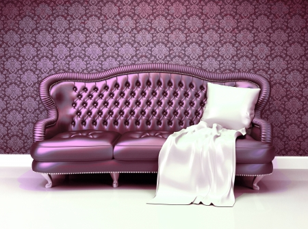 Luxurious leather sofa with covering  in interior with ornament wallpaper photo