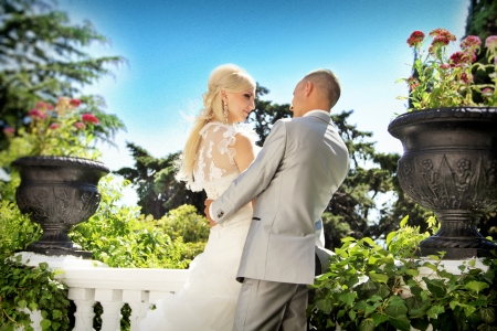 Bride and groom, wedding outdoors photo