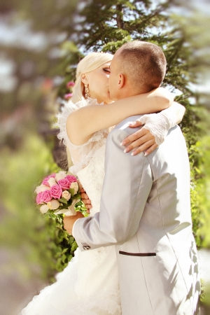 Series  kissing newlyweds photo