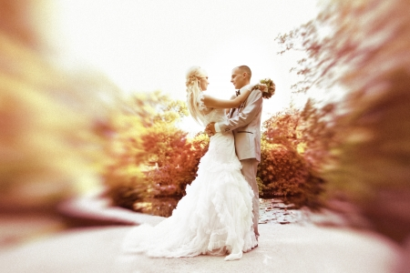Wedding dance the bride and groom on orange leaves nature background photo