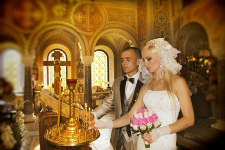 Wedding ceremony in church photo